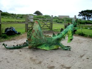 Completed stilt dragon, built for parades (willow, paper, cloth)