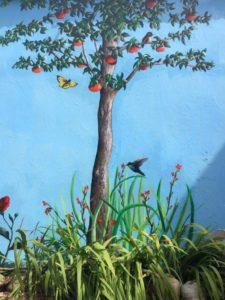 outdoor garden wall mural