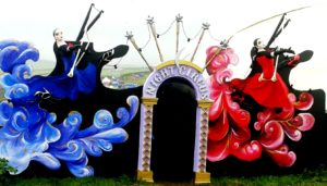 Masked ball entrance set painting