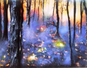 Australia woodland bushfire painting