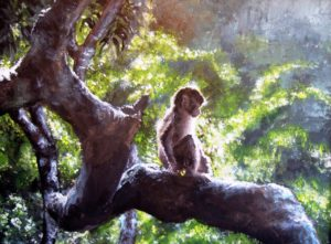 Baby monkey in tree painting