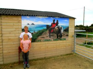 horse riding mural sign outdoor