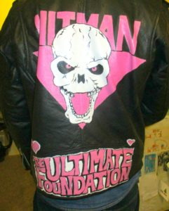 Design painted on leather jacket for WWE show