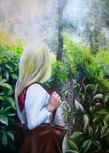 Girl in maze leaves sunshine painting