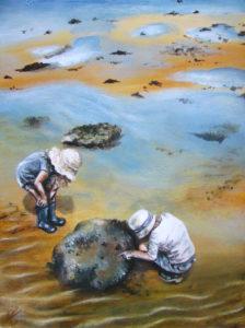 Children rockpooling beach painting