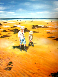 Mother and daughter beach painting
