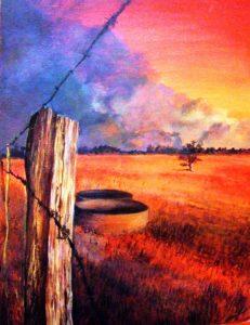 Australia bushfire field painting