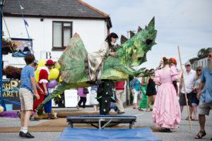 Stilt dragon in Lafrowda parade