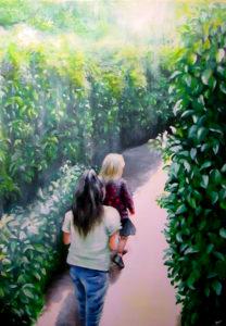 Children maze sunlight painting