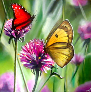 Butterflies and flowers painting
