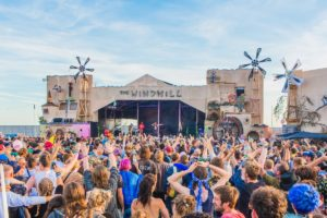 Boomtown festival stage set painting