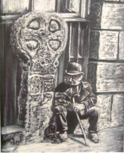 Old cornish man painting