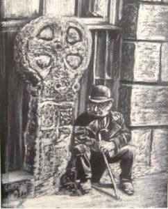 Old cornish man painting