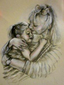 little girl grandmother painting