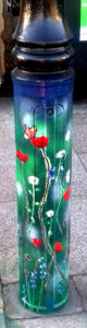 Decorated lamp-post painted in enamels as a permanent installation in St Just