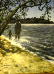 Father and little girl walk on beach painting