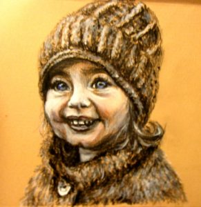 Portrait little girl painting