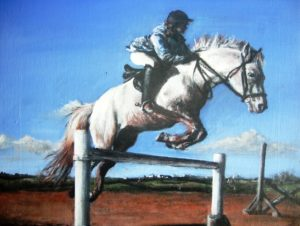 Girl showjumping pony painting