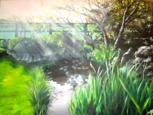 Garden pond sunlight painting