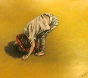Little girl on beach painting