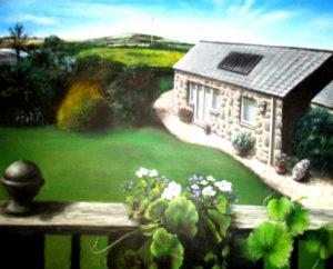 House garden sunlight balcony painting