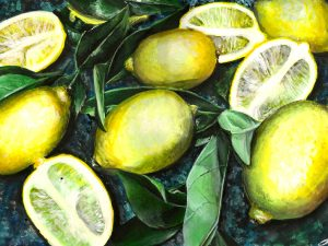 Lemons fruit painting homeware artwork