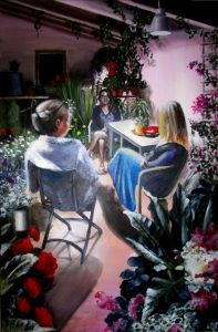 tropical paradise, greenhouse, women, plants, flowers, friends painting picture