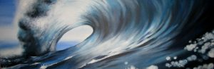 wave blue long painting