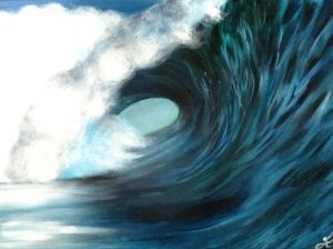 turquoise wave painting