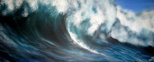 long blue wave painting