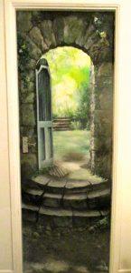 """""""Arcadia"""", Acrylic on wooden door."""