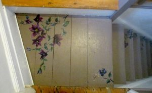 stairs painted decorated hand painted flowers clematis