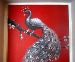 door hand painted decoration birds peacocks jewels decorative fine art home