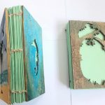 Handmade books stitched wooden covers hand painted recycled paper