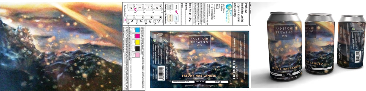 Padstow Brewing Company - Freddy Has Landed. Packaging design, from original painting to design spread to final product.