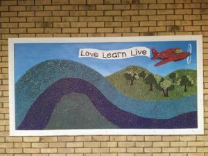 8ft mosaic mural made with the students of North Worcester Primary Academy